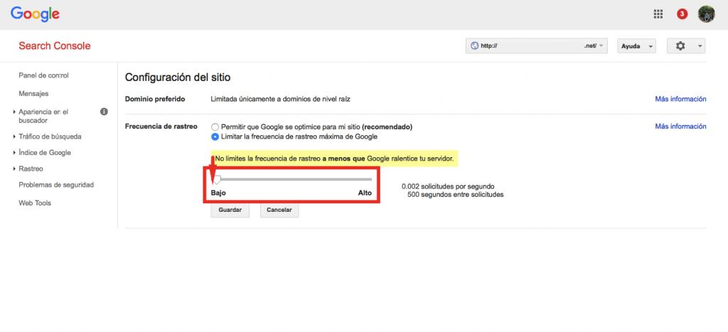 Google Search Console frecuencia de rastreo