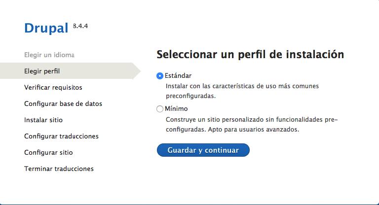 La instalación de Drupal elige el perfil de instalación