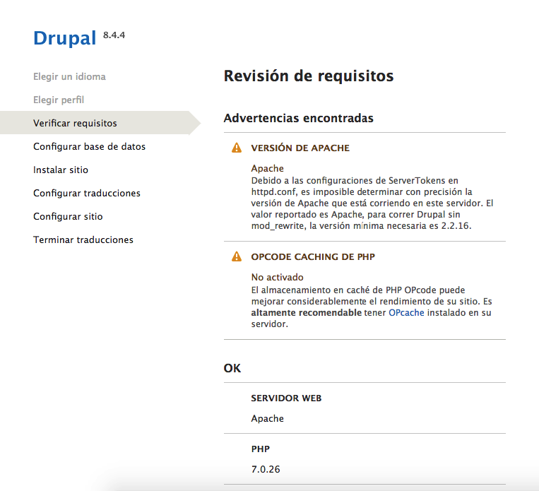 Instalación de Drupal Verificar los requisitos