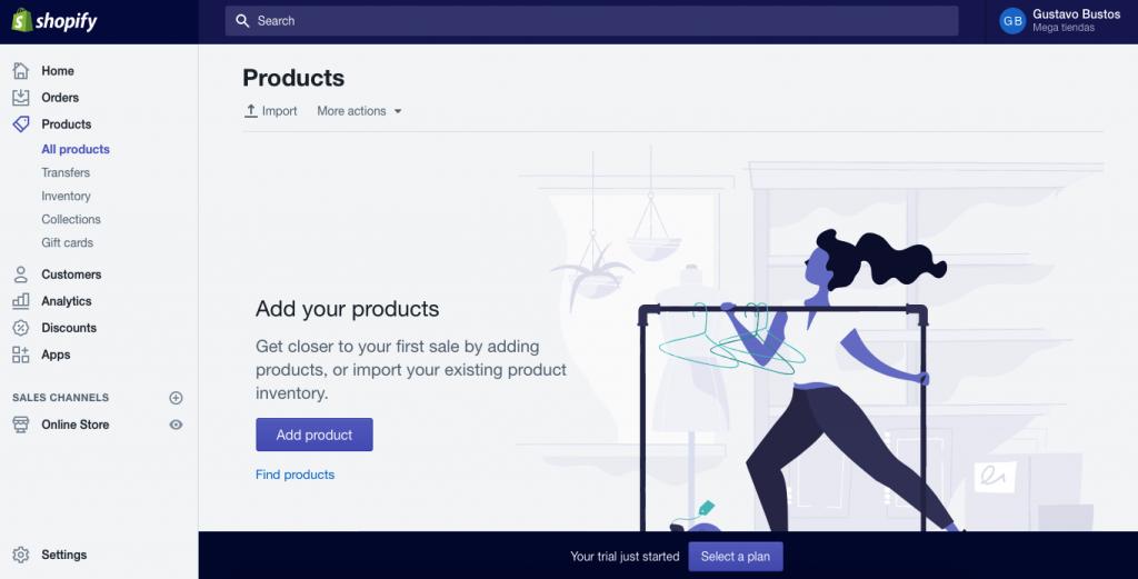 shopify añadir producto