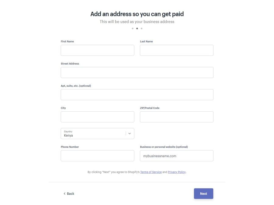 shopify escribe tu dirección
