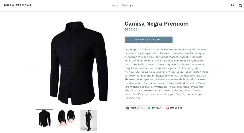 shopify producto ejemplo