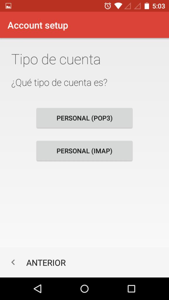 tipo de cuenta imap pop3