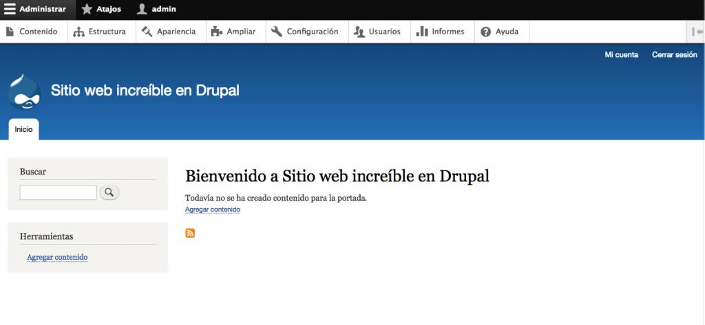 Vista de Administrador Drupal