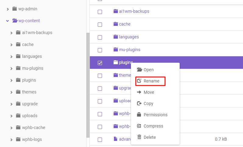 Deshabilitar todos los complementos de WordPress a la vez.
