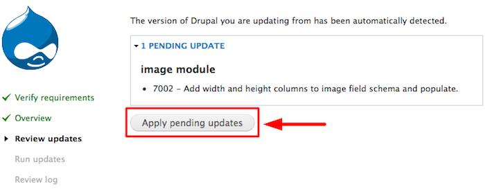 aplicar actualizacion drupal