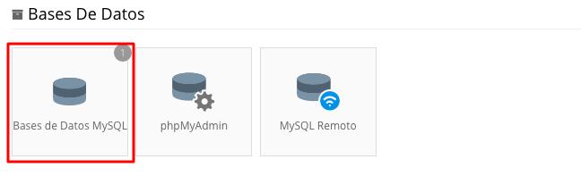 base de datos mysql en panel de control de hosting