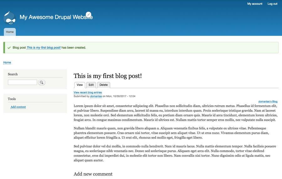 blog publicado en drupal