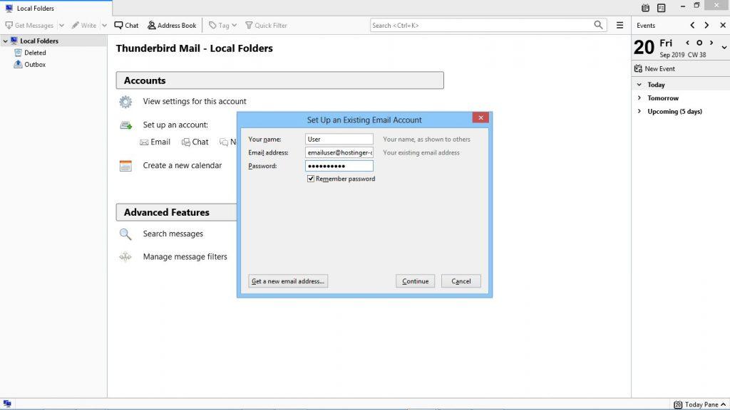 configurar mozilla thunderbird email