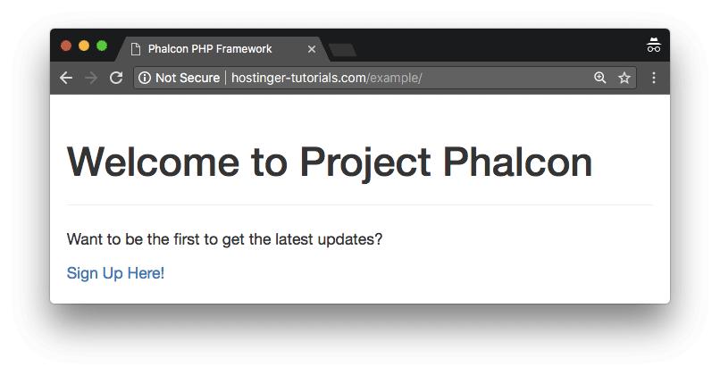 Phalcon ejemplo pagina de inicio