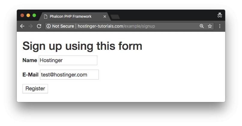 Phalcon ejemplo pagina de registro