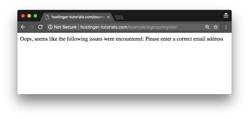Phalcon ejemplo email incorrecto