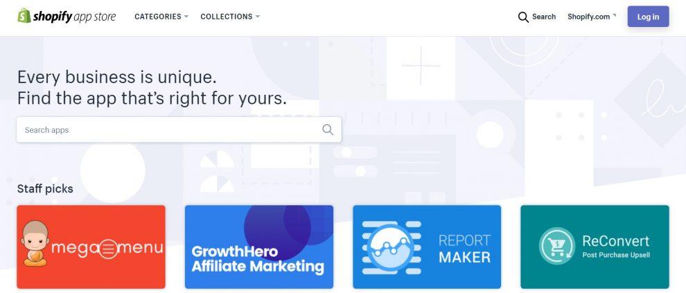 Interfaz de la tienda de aplicaciones Shopify