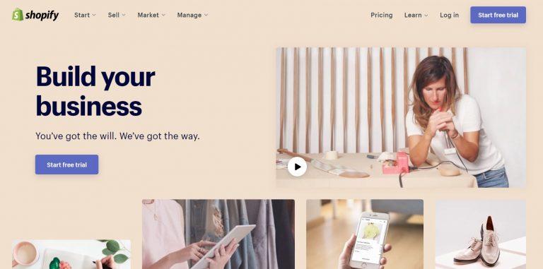 Página de inicio de Shopify