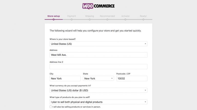 Asistente de configuración inicial de WooCommerce