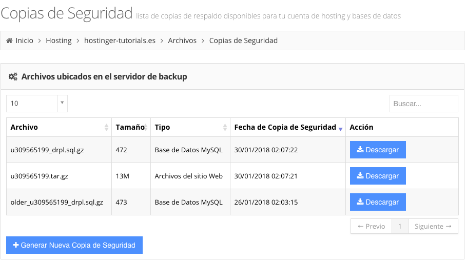 tutorial drupal seccion copias de seguridad hosting