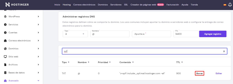 Borrar registro SPF existente en el hPanel de Hostinger