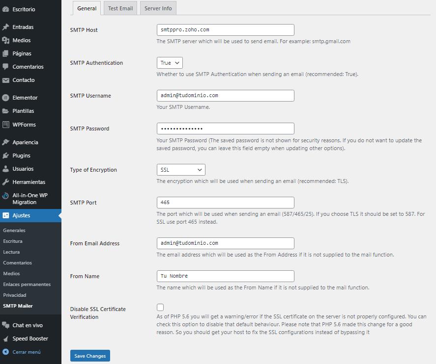 Configurar SMTP Mailer en WordPress