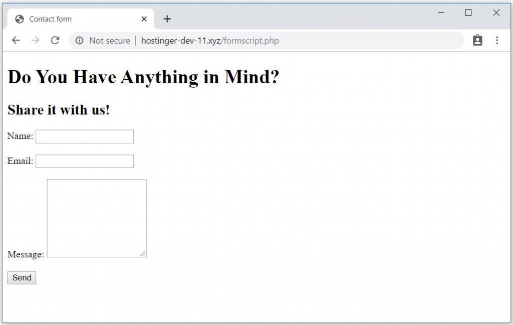 Ejemplo de formulario de contacto interactivo de PHPMailer.
