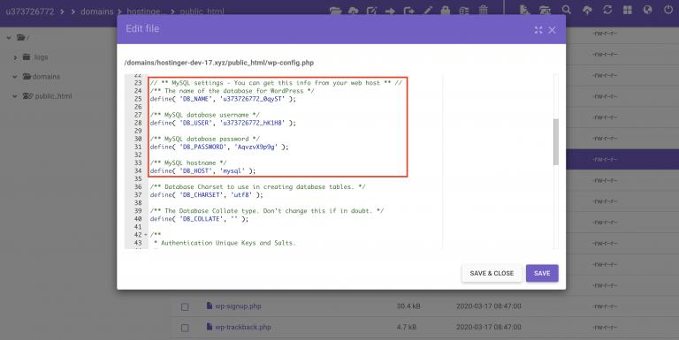 Encontrar las líneas DB_NAME, DB_PASSWORD y DB_HOST dentro del archivo wp-config.php en el administrador de archivos de hPanel