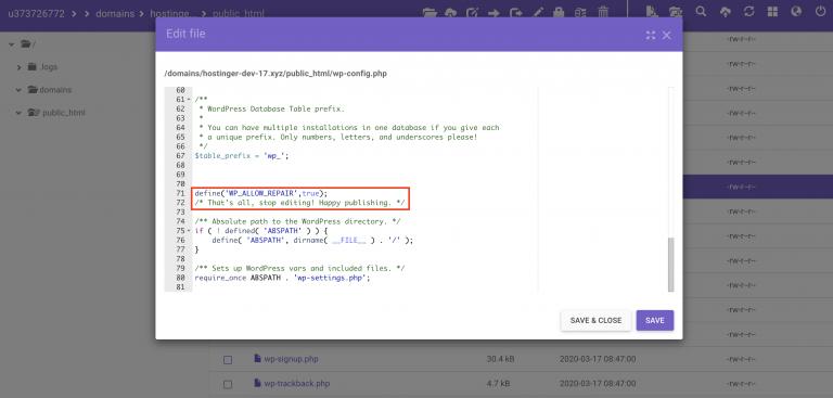 inserta la siguiente función en el archivo wp-config.php para intentar corregir el error de wordpress estableciendo un error de conexión a la base de datos