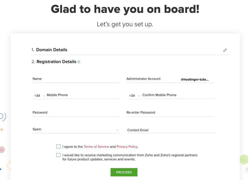 formulario de registro en zoho mail actualizado