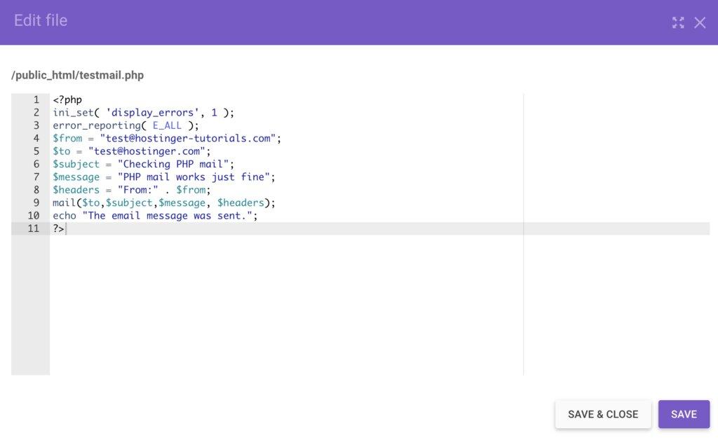 Ejemplo de los componentes básicos del correo PHP.