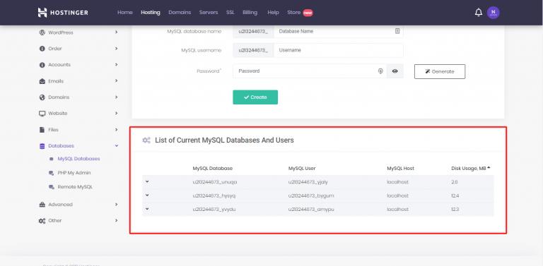 Lista de bases de datos y usuarios actuales de MySQL