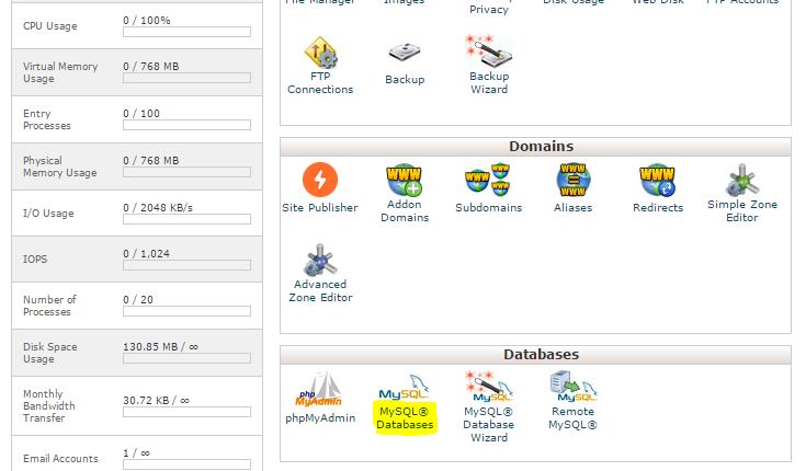 MySQL en cPanel