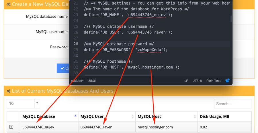 Verificar si datos mysql igual que-wp-config