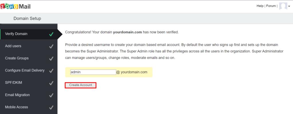 Continuar la configuración de la cuenta en Zoho Mail