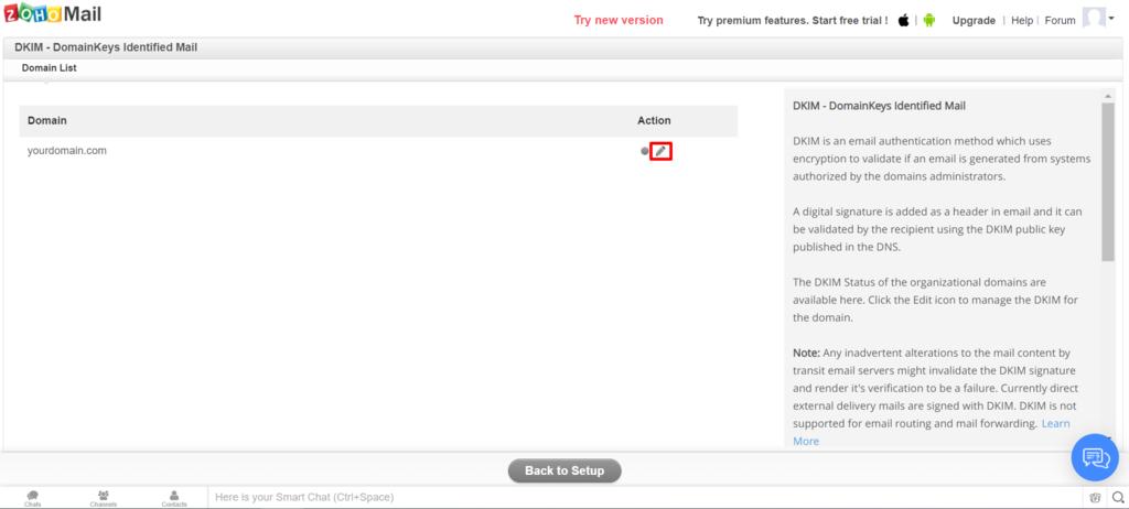 Editar dominio en Zoho Mail