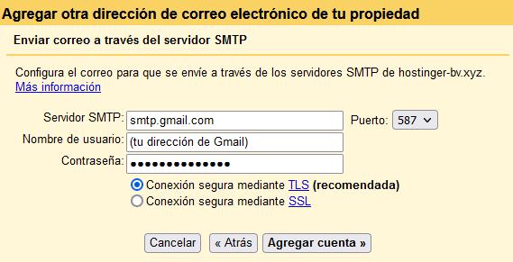 Configurar servidor SMTP de Gmail