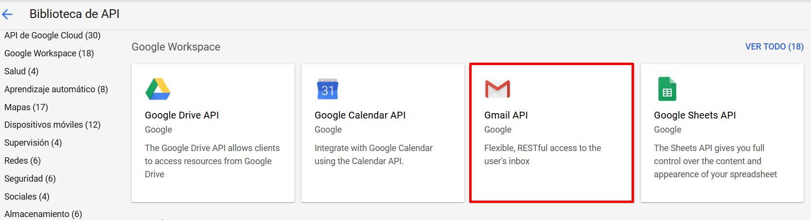Biblioteca Gmail Api en Google Cloud