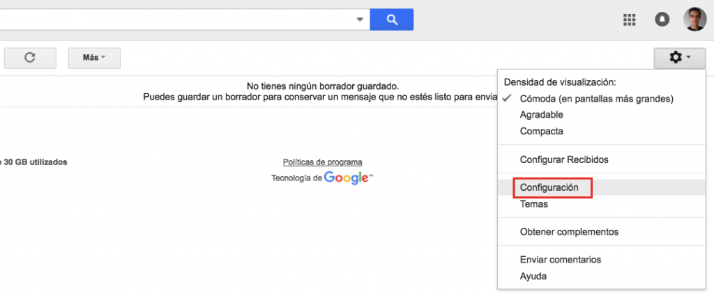 Acceso a la sección de configuración de Gmail