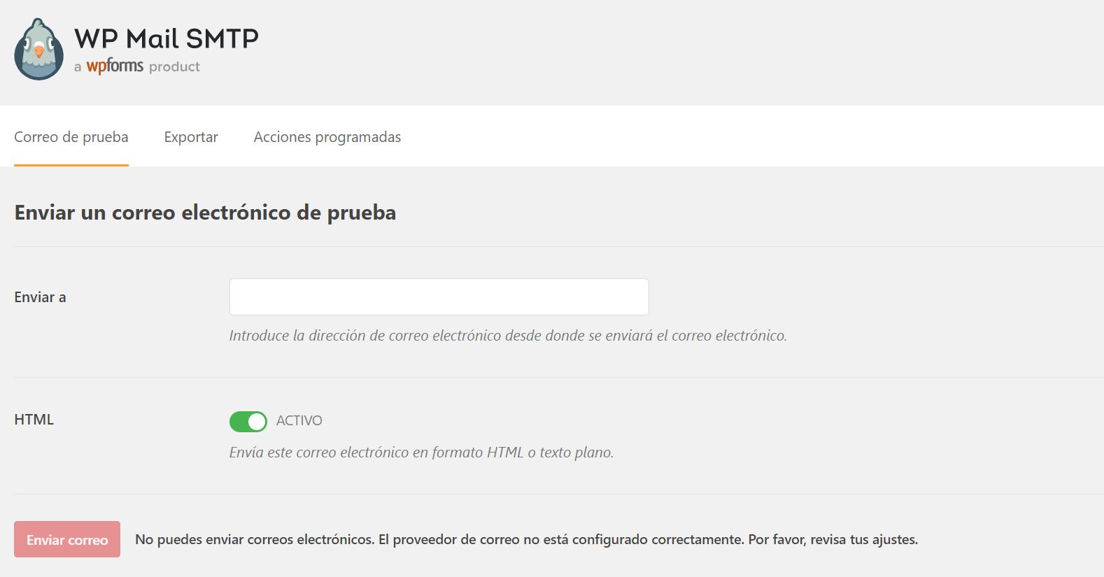 Enviar un correo de prueba con WP Mail SMPT