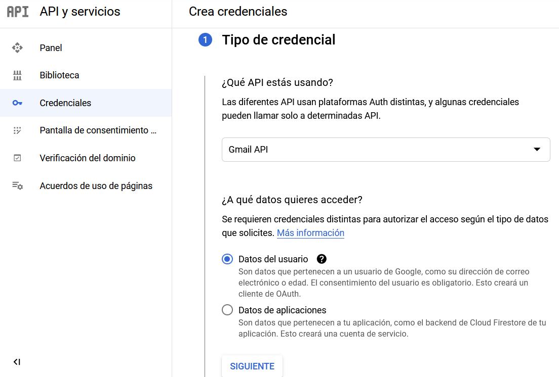 Crear credenciales en la API de Gmail