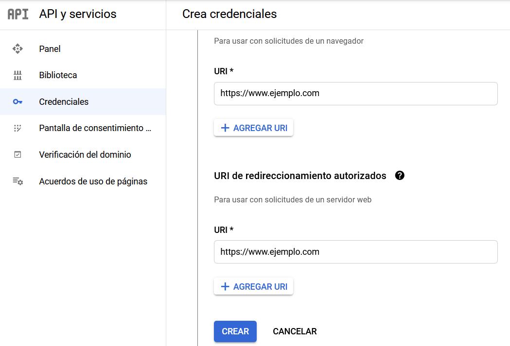 Crear credenciales en Apis & Servicios de Google