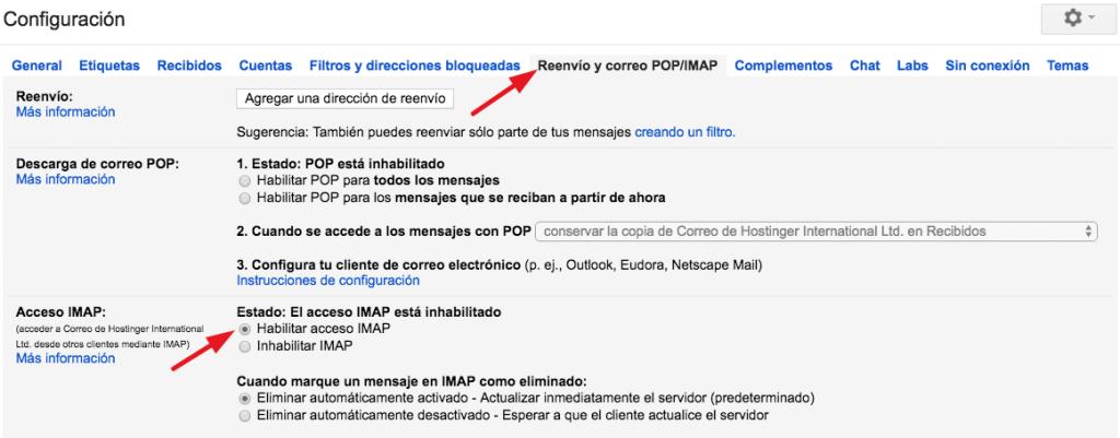 Pestaña Habilitar IMAP en Gmail