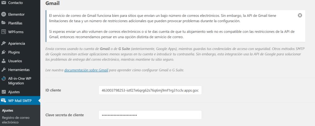 Agregar ID del Cliente y Clave secreta del cliente en WP Mail SMTP