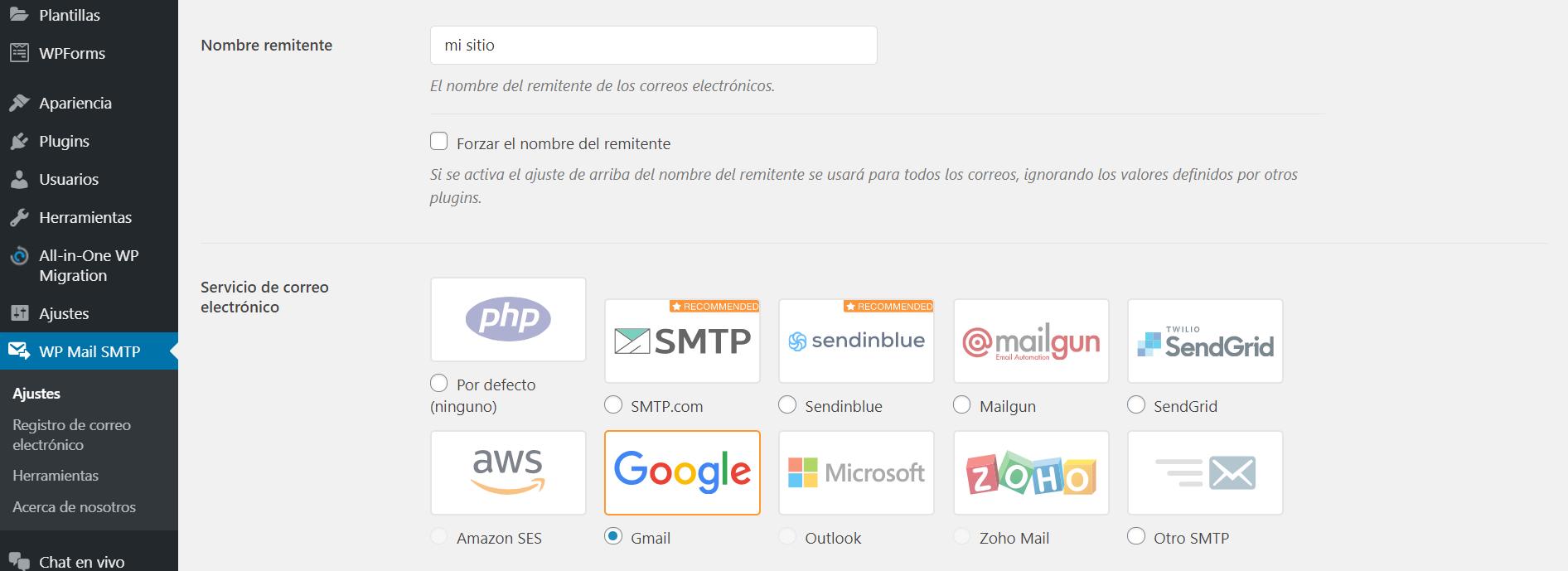 Configurar WP Mail SMTP