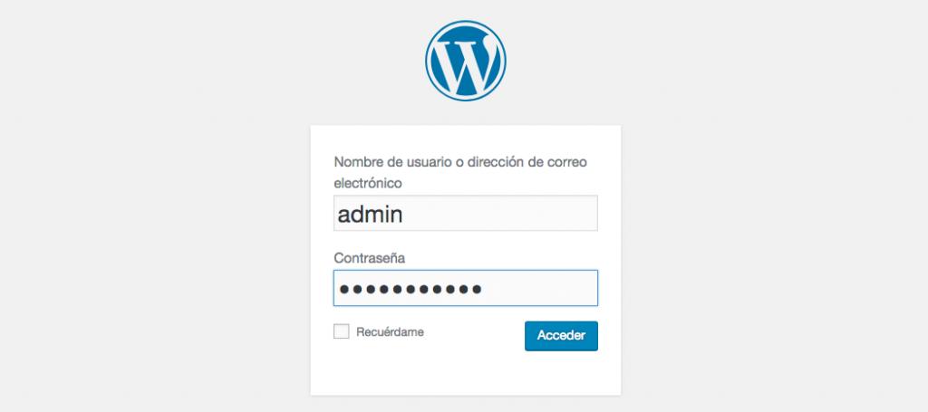 Inicio de sesión en WordPress