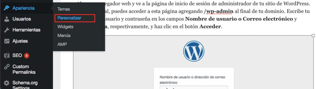Menú apariencia - personalizar WordPress
