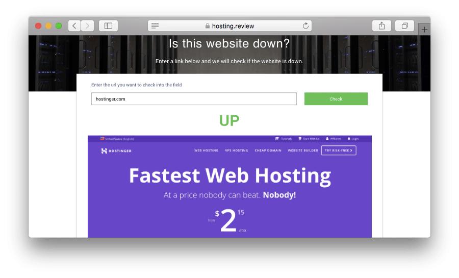Comprobar la disponibilidad del sitio web usando herramientas en línea