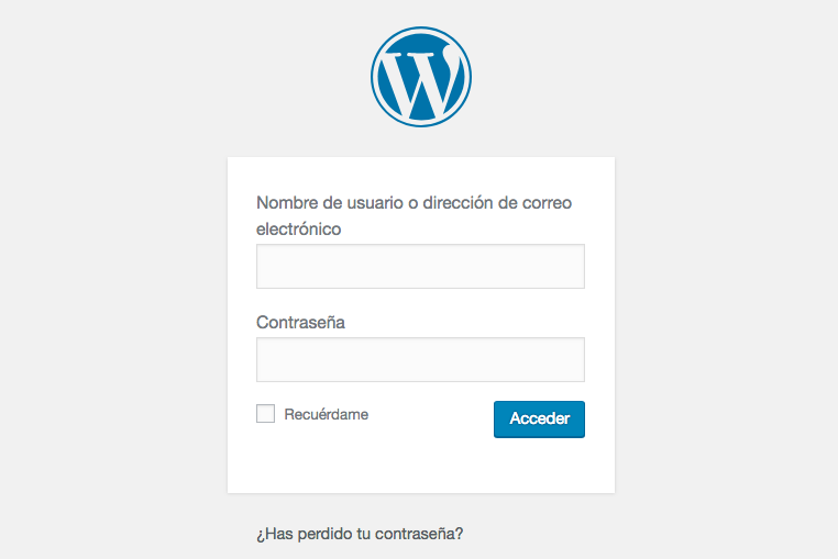 acceder al escritorio wordpress