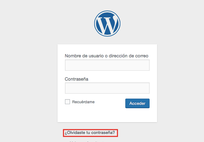 Opción para acceder a wordpress si olvidaste tu contraseña
