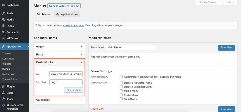 Agregar el botón de inicio de sesión de WordPress al menú