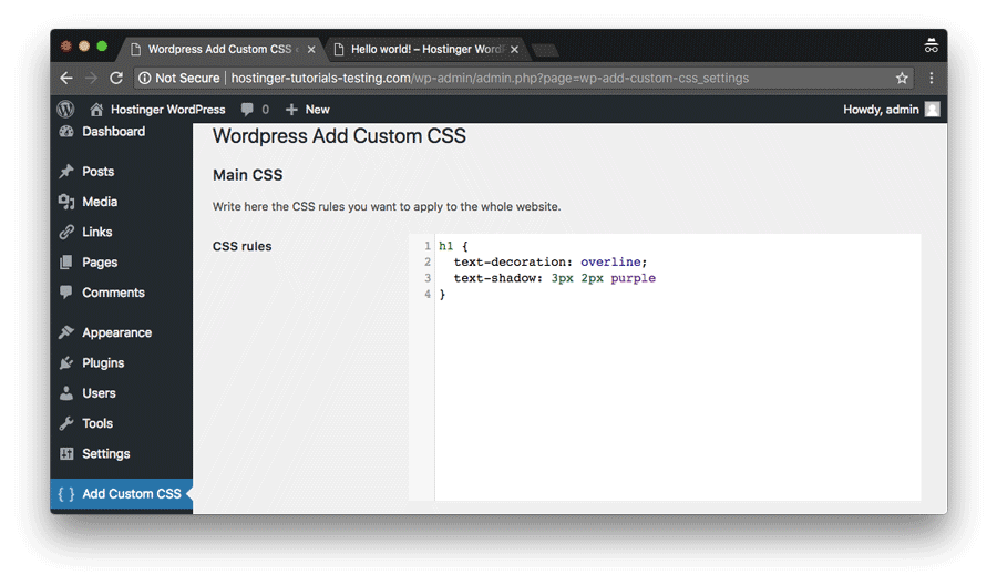 añadir css personalizado a wordpress mediante plugin