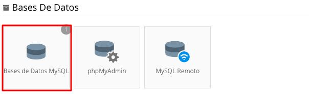 Menú de bases de datos mysql en el panel de Hostinger