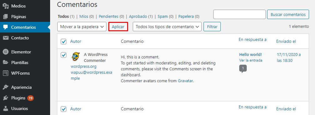 Eliminar todos los comentarios existentes en cada entrada y página de WordPress